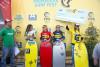Pódio Feminino na Costa de Caparica, com Joana Schenker, 1º lugar, de amarelo (@federacaoportuguesasurf)