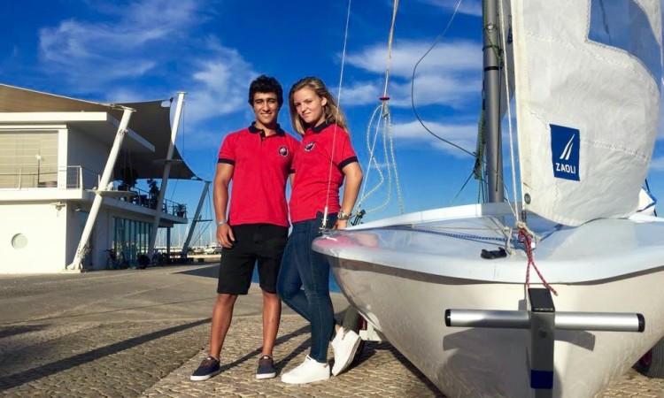 Pedro Roque e Beatriz Leandro são namorados e forma a nova e única tripulação de 420 no Clube Naval de Portimão (®DireitosReservados)