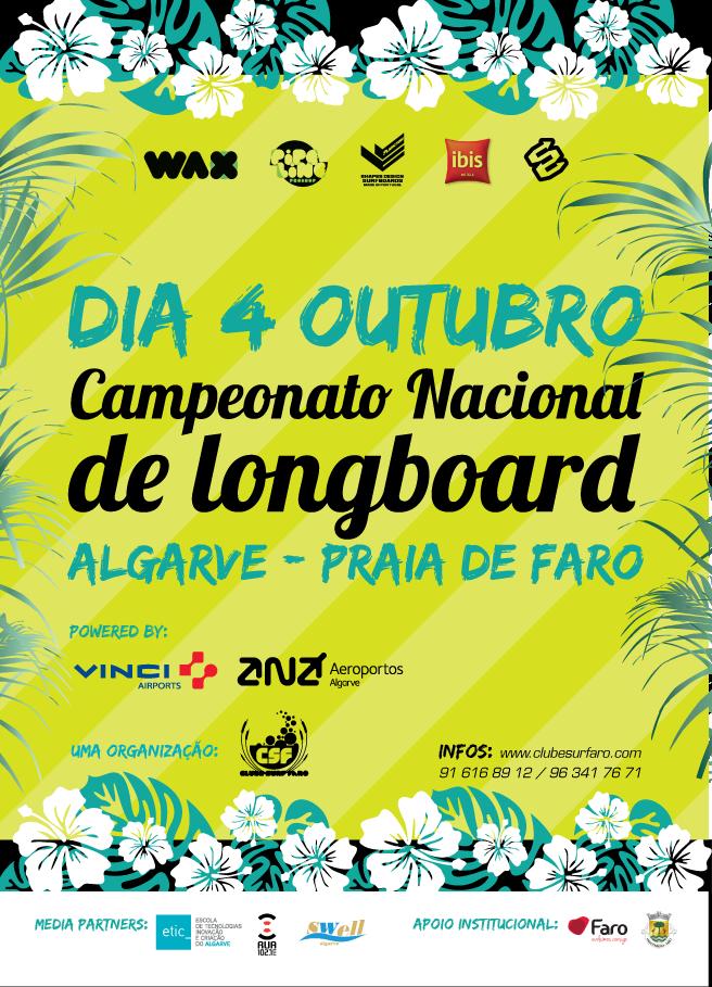 Penúltima Etapa do Circuito Nacional de Longboard 2015, domingo 4 de outubro, Praia de Faro, a partir das 08h30
