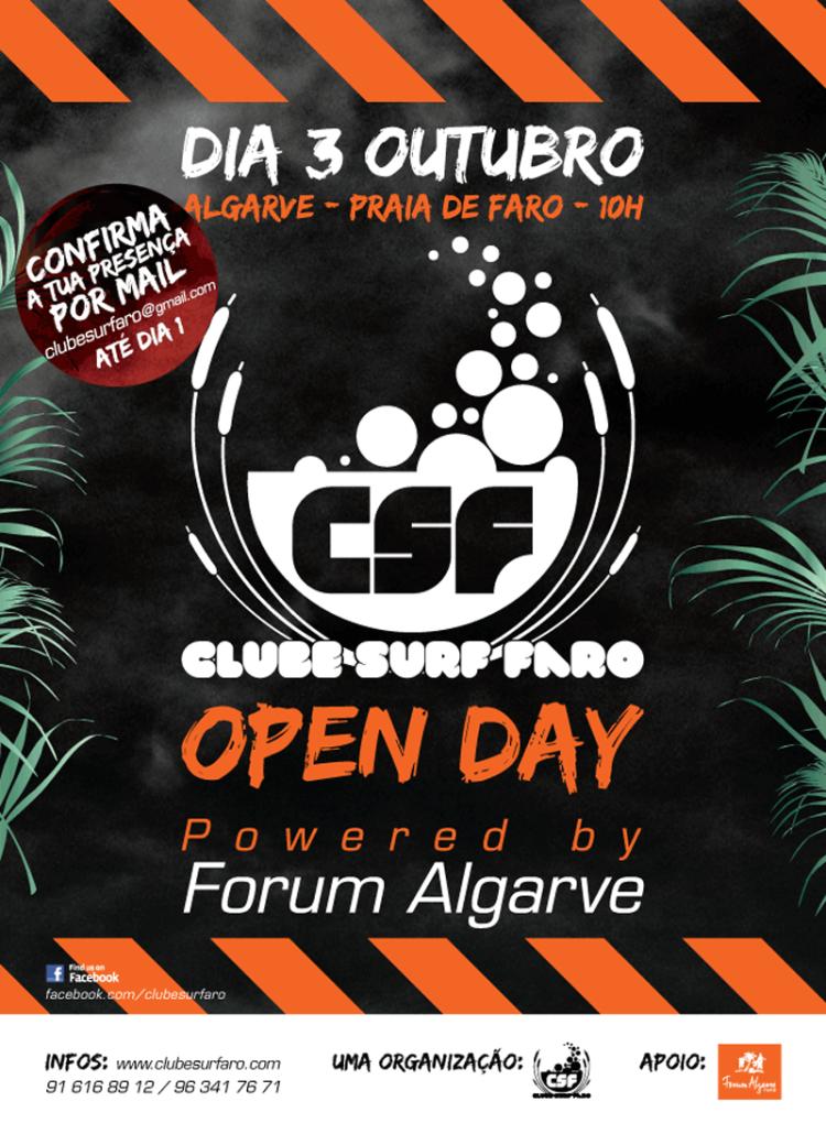 Open Day, Praia de Faro, sábado 3 de outubro, 10h00