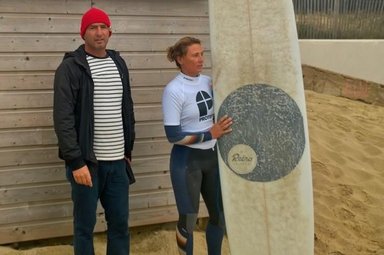 Treinador João 'Brek' Bracourt com a atleta Isabele De Walle Pereira em Vieox-Boucau (®DireitosReservados)