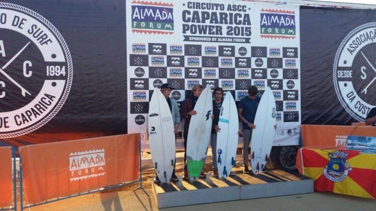 Jakob Lilienweiss (1º) e 'Martim' Magalhães (3º) no pódio Sub-18 da 4ª Etapa do Circuito ASCC Caparica Power 2015 (®BentoSantos)