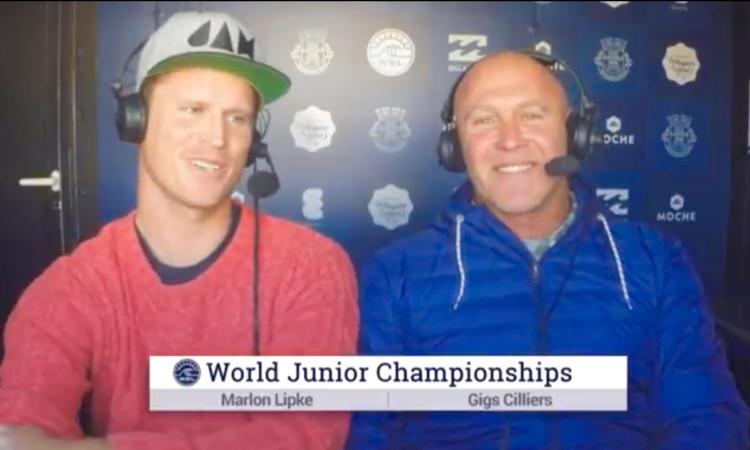 'God Job Marlon Lipke'. Surfista algarvio foi comentador oficial do evento para a World Surf League (®screenshot)