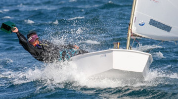Beatriz Gago from the Algarve at the Portugal Youth Sailing Championship im Cascais. She finished 5th overall and 1st Girls (®NeuzaAiresPereira/CNCascais)