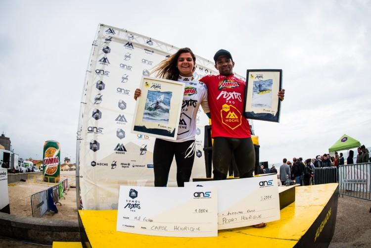 Irmãos Carol e Pedro Henrique, vencedores do Sumol Porto Pro (®PedroMestre/ANS)