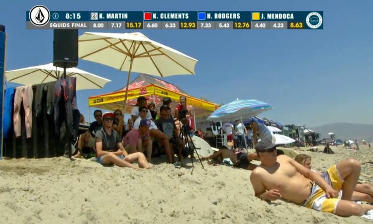 Momento na praia e situação da bateria a 8,15 minutos de acabar a final Squids (®screenshot)