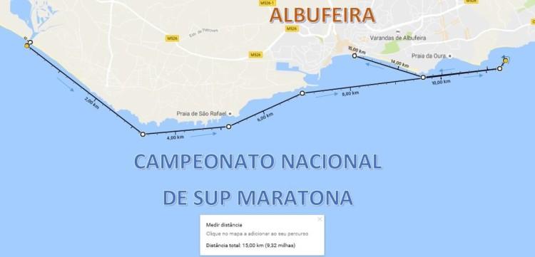 Mapa do trajeto da etapa do Nacional SUP Maratona em Albufeira, no próximo dia 23 (®AlbufeiraSC)