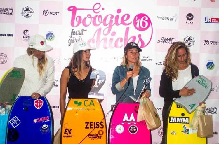 Pódio Boogie Chicks 2016 com as melhores bodyboarders portuguesas da atualidade (®BoogieChicks)