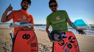 Manuel Centeno, à esquerda, e Nuno 'Batata' Leitão; os campeões nacionais de bodyboard Open e Dropknee 2016 (®FPS)