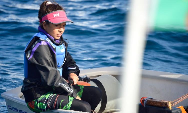 Beatriz Cintra é a velejadora que mais regatas de apuramento venceu esta época (®PauloMarcelino/PARSulFaro)