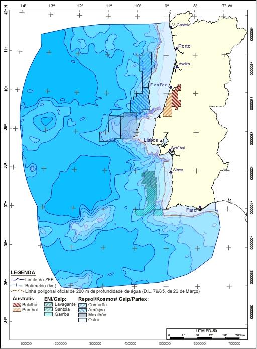 Este é o mapa atual de concessões. Desapareceram as quatro áreas Repsol-Partex no mar do sotavento algarvio (®ENMC)