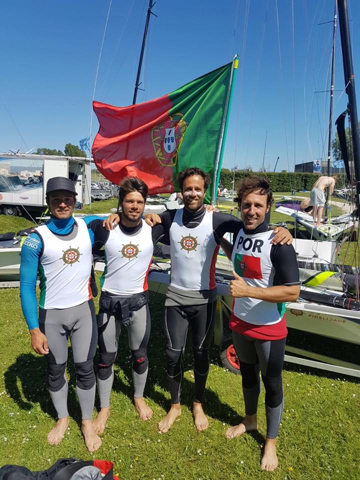 Os irmãos algarvios Rodolfo e Gonçalo Pires, à esquerda, com os olímpicos Jorge Lima e José Costa (®DR)
