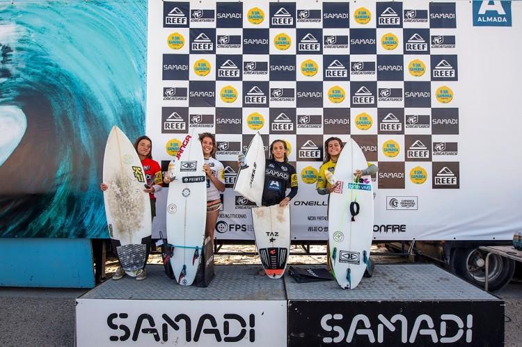 Campeã regional do Sul Vera Carvalho, de vermelho, no 2º lugar do pódio Sub-18 da 3ª etapa Samadi 2017 (®DR)