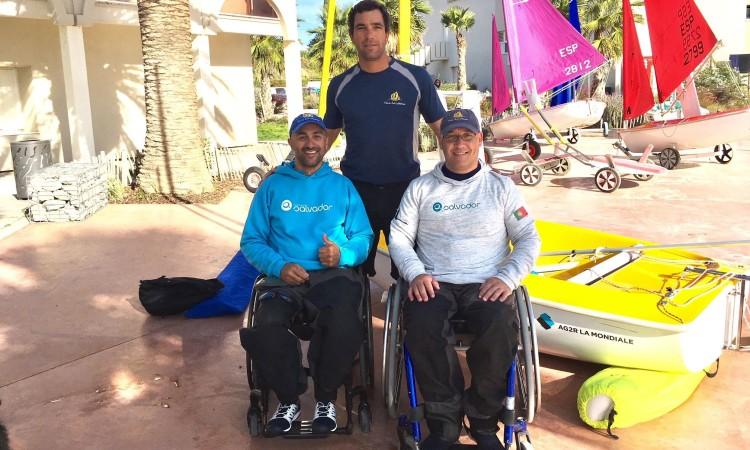 Equipa algarvia em Mèze: Guilherme Ribeiro, Luís Brito e Luís Ramalho (®VelaSolidaria)