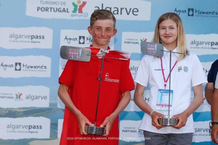 Max Wallenberg e Victoria Schultheis, os vencedores individuais do Mundial de Optimist 2016 (®MatiasCapizzano)