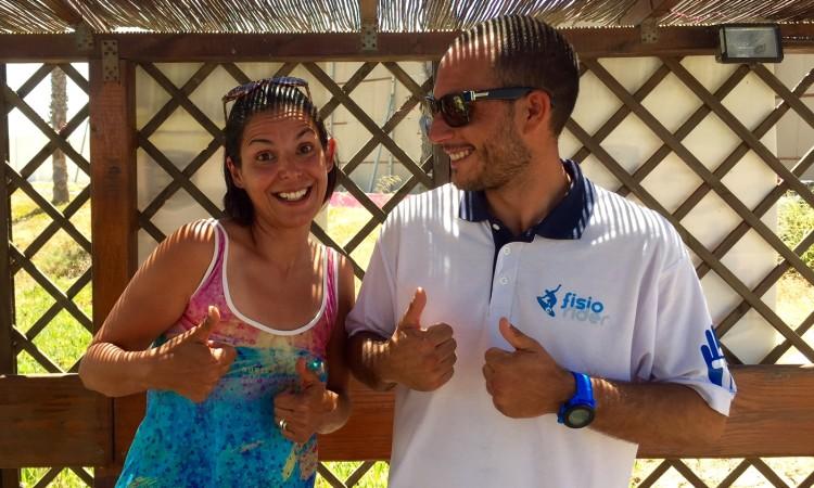 Magda Nóbrega, da Iodo Surfing Gear; e Filipe Costa, da Fisiorider, os rostos de uma nova parceria algarvia (®PauloMarcelino)