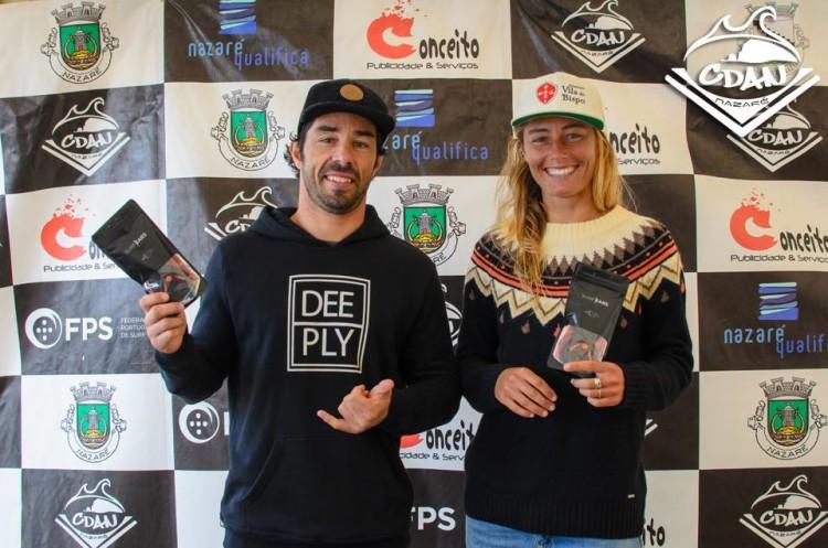 Manuel Centeno e Joana Schenker realizaram as melhores ondas, masculino e feminino, da etapa na Nazaré (®CDAN)