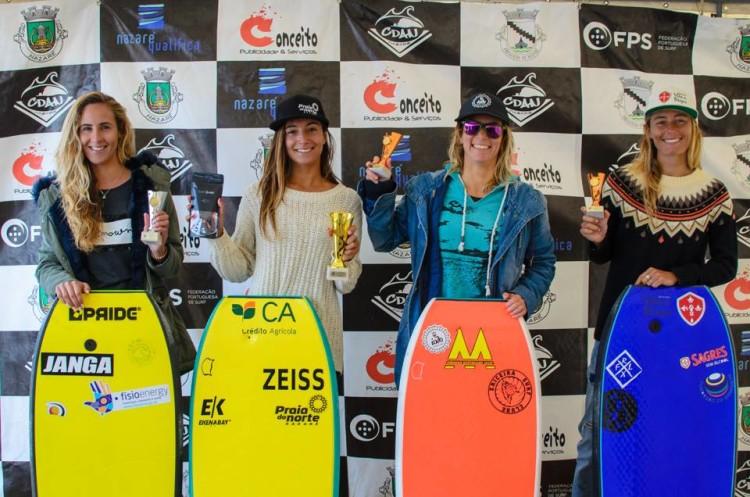 Pódio Feminino 4ª Etapa Circuito Nacional dse Bodyboard, Nazaré (®CDAN)