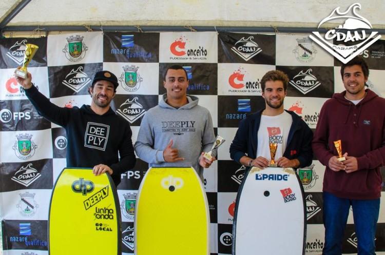 Pódio Open (masculino) 4ª Etapa Circuito Nacional dse Bodyboard, Nazaré (®CDAN)