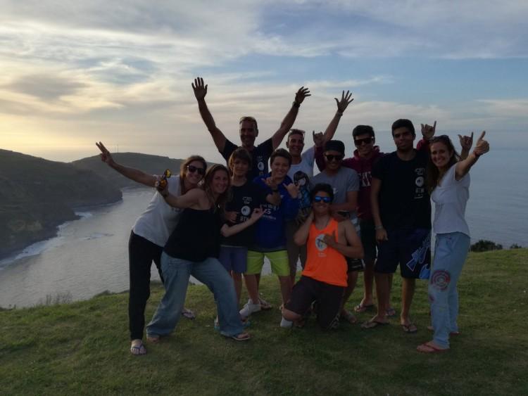 Grupo dos Centros de Formação Desportiva escolar de Portimão e Silves Sul que realizou o estágio na Ilha de São Miguel, Açores
