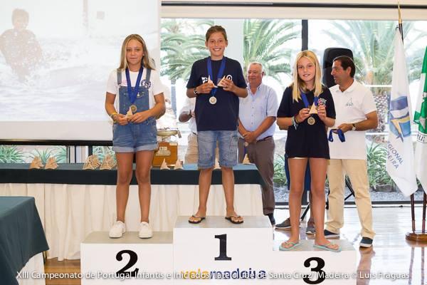 Pódio Infantis Feminino com as algarvias Érica Porto, do CNTavira em 2º e Beatriz Nunes, da ANGuadiana em 3º (®LuisFraguas/ICSCruz)
